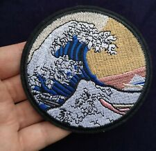 """Round 3.5"""" Hokusai Wave Embroidered Patch Iron On Quality Japan Painting Art"""