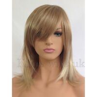 FULL WOMENS LADIES FASHION HAIR WIG TWO TONE BLONDE SHOULDER LENGTH FACE FRAME