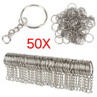 50X 25mm Polished Silver Keyring Keychain Split Ring Short Chain KeyRings DIY s/