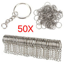 50PCS 25mm Polished Silver Keyring Keychain Split Ring Short Chain Key RingsFW