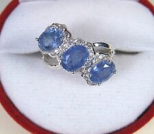 3.76 CTW BLUE & WHITE SAPPHIRE RING #7.25 - WHITE GOLD over 925 STERLING SILVER