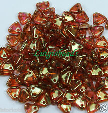 29 50pcs Czech Pressed Glass Tango Bead 2-Hole-Triangle-Jet Silver Picasso 6mm