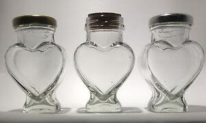 HEART SHAPED GLASS JAM JAR - 100ML- CORK, GOLD, OR SILVER LIDS - FROM £0.60 EACH