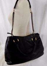 IVANKA TRUMP Black Shoulder Handbag Top Zip Buckle Closure Chain Strap Large