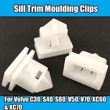 10x Clips For Volvo Sill Trim Moulding Clips C30 S40 S80 V50 V70 White Plastic