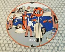 VINTAGE GULF GASOLINE PORCELAIN GAS MOTOR OIL SERVICE STATION PUMP PLATE SIGN