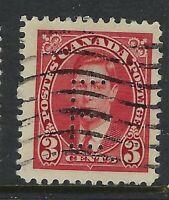 Perfin E2-E EATON'S (Montreal): Scott 233-1, 3c King George VI Mufti, Position 1