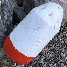 Weathered MAINE Lobster Trap BUOY Nautical White/Orange Lg Spongex Pot Net Float