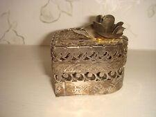 Silver Tone Metal Rose Heart Shaped Trinket Box Jewellery Knick Knacks Gift