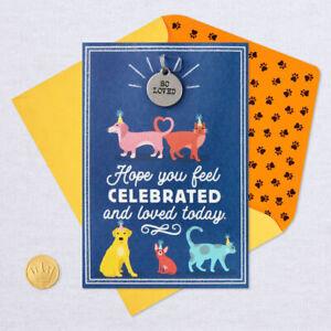 "Hallmark Birthday Card ~ Woof & Purr Animal Theme w/ PET TAG "" So Loved  """