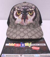 db27fd7200a Gucci GG Logo Print Owl Mesh Beige Black Snapback Baseball Cap Hat Size L 59