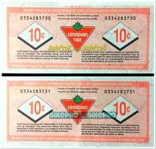 2x CANADA 2007 CANADIAN TIRE MONEY 0334283730-31 CASH 10 CENT PAIR NOTE LOT AUNC