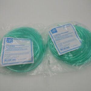 Medline 25' Green Crush Resistant Oxygen Tubing HCS4525G Lot Of 2