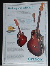 1994 Ovation LongNeck guitar,Ovation Mandolin Long and Short print ad
