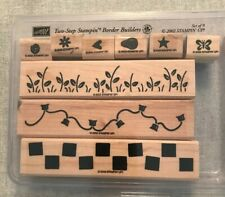 Stampin Up Border Builders Set Of 9 Wood Mounted Rubber Stamp Su Scrapbooking