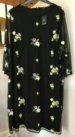 ☆M&S Collection Mesh Overlay Embroidered Detail Dress☆Plus Size 30☆BNWT!☆