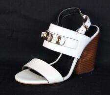 Coach Dennis women's shoes white heel sandals buckle gold size 5.5