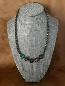 Hematite Pendant Necklace with Multicolor Cat Eye Beads 17.5 Inches
