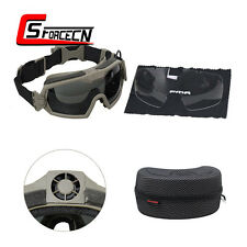 Tactical Airsoft Army Outdoor Anti-Fog Anti-Dust Goggle Glasses w/Fan Dark Earth