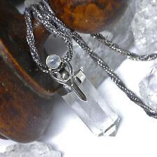 2.Wahl Bergkristall Anhänger 925 Silber Obelisk Mondgöttin Handgeschmiedet