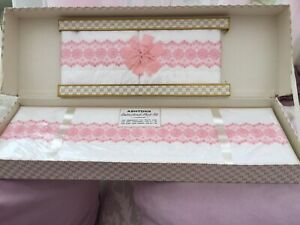 Vintage Embroidered Cotton bed Sheet Set In White And Pink Ashton's