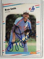 1988 Fleer Bryn Smith Autograph Card Expos Cardinals Rockies Auto #196 Signed