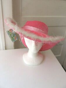 NWT CHILD'S PINK VELOUR WIDE BRIM FAIR LADY HAT W/FUR-LITTLE DAYDREAMERS/ELOPE