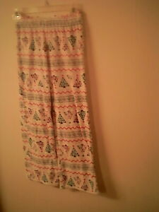 Jammies for your Families kids PJ Bottoms 7-8  Trees mulitcolor Polyester unisex