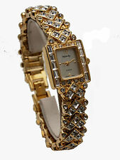 INFINITY: WOMEN'S GOLD FINISH FULL RHINESTONES SQUARE CASE  LINKS ANALOGE WATCH