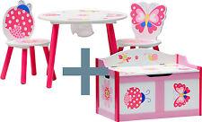 Ensemble table et chaises enfant - PAPILLON - coffre à jouets Set meubles bois