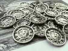 Antique Silver Clock Watch Charms 12pcs D1 Steampunk Vintage Pendants Kitsch