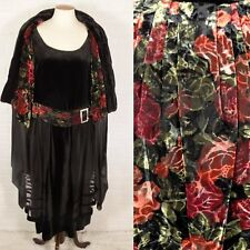 Antique 1920s Velvet Dress and Cocoon Cape Set Roses Flapper Rhinestones Vintage