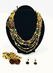 CGI CN Tiger Eye Peridot Amber Pearl Bead Multi Strand Necklace Bracelet Earring