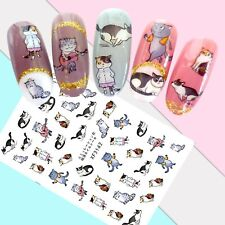 Nail Art Stickers Transfers 3D Self Adhesive Musical Cats (XF3142)