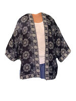New Max Studio Navy Geo Print Kimono Duster Peasant Blouse Boho Top M NWT