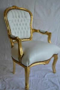 LOUIS XV ARM CHAIR FRENCH STYLE CHAIR VINTAGE  WHITE LEATHER LOOK GOLD WOOD