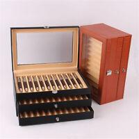 24/36 Fountain Pen Display Case Holder Leather Storage Collector Organizer Box