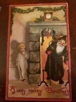 Very Merry Christmas Santa Black Robe Fireplace Boy Hiding L&E HBG 2224 Postcard