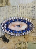 Georgian Victorian Lover's Eye Brooch Pin Jewelry Wooden Papered Handcrafted