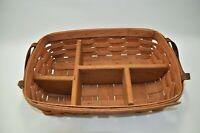 """Longaberger 1989 Basket with Wood Divider 2 Leather Handles 14"""""""