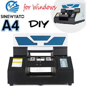 SINEWYATO A4 UV Printer Flatbed Glass Plastic Acrylic Rotation Embossed Printing
