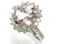 4.65 ctw Natural Pink Kunzite & Diamond Solid 14k White Gold Halo Cocktail Ring