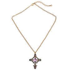 NEW * Stylish Anthropologie Antonella Cross Purple Green Red Beaded Necklace