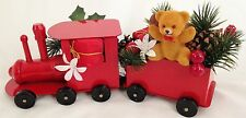 Red Metal 2 Piece Fire Truck Floral Centerpiece with Bear