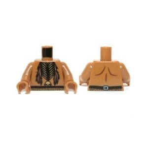 LEGO - Minifig, Torso Bare Chest w/ Beaded Necklace & Feathers Pattern (Tonto)