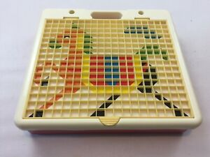 Vintage Tile Peg Board Mosaic Toy With Portable Carry Case & 4 Pictures, 1980s