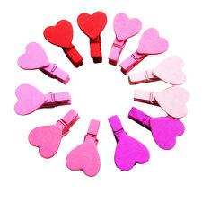Mini Coeur 12pcs vêtements en bois Papier Photo Pin Clothespin Craft Clips