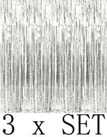 3 Metallic Silver Foil Fringe Curtain Backdrop Party Decor Photo Support 3ftx8ft