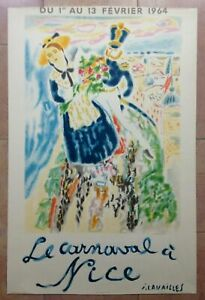 NICE FRANCE by CAVAILLES 1964 LARGE LITHOGRAPHIC POSTER MOURLOT