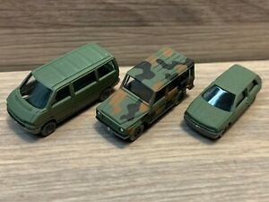 N Scale Wiking Cars VW T4, Golf, MB G320 Volkswagen Mercedes Army Green Military